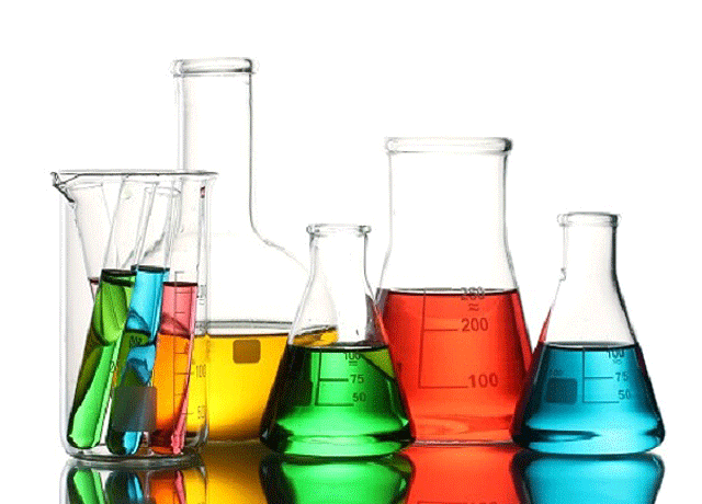 Colourful Liquids in Beakers - HRS Fine Chemicals